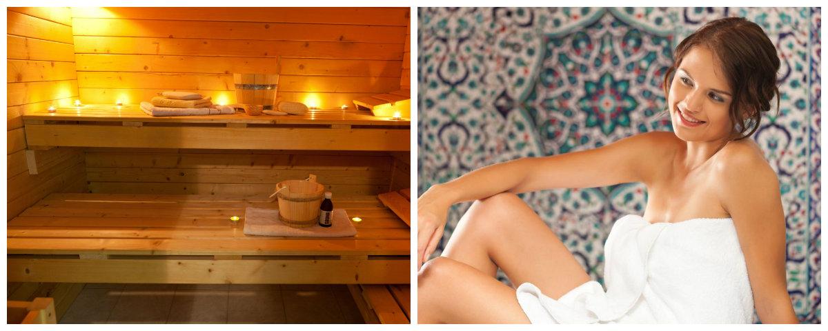 Aquaris: Collage zum Thema Sauna und Wellness