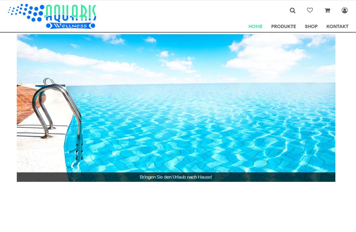 Screenshot des Aquaris Onlineshops, einem Onlineshop für Produkte in den Bereichen Schwimmbad, Sauna und Wellness.