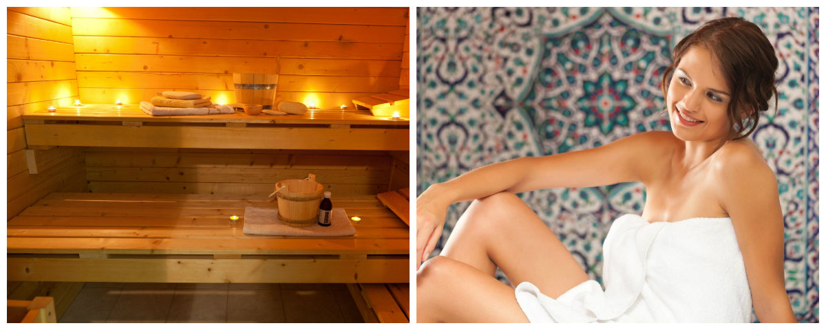 Aquaris: Collage zum Thema Sauna und Wellness