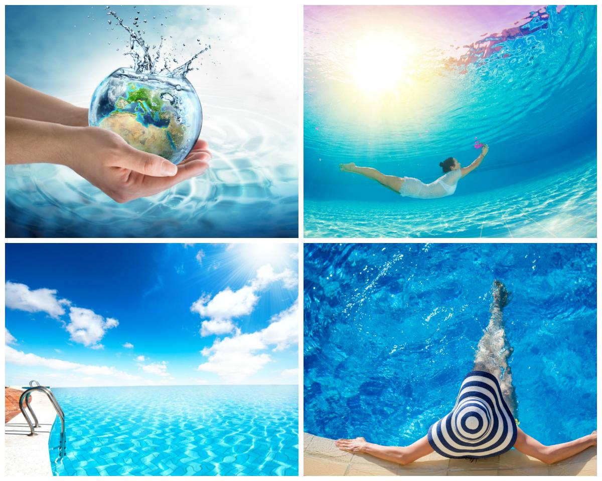 Aquaris: Collage zum Thema Schwimmbad & Wasser